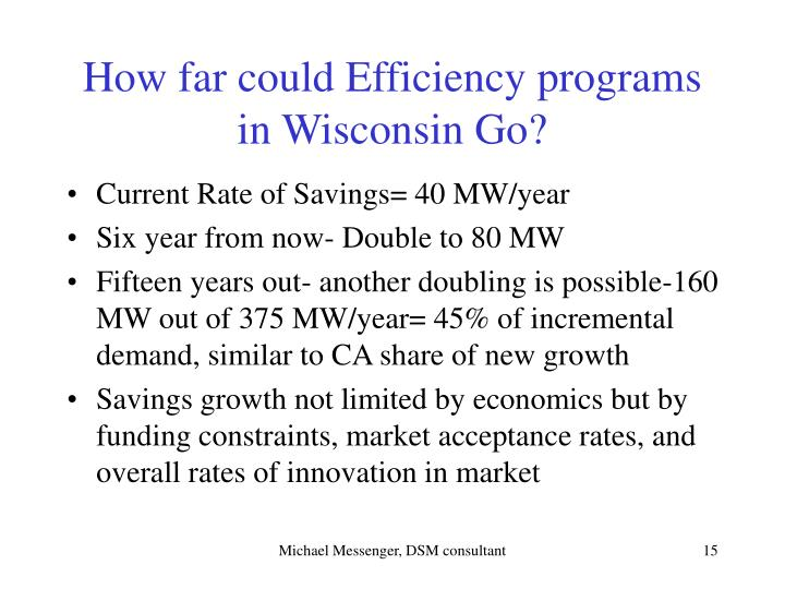 How far could Efficiency programs in Wisconsin Go?