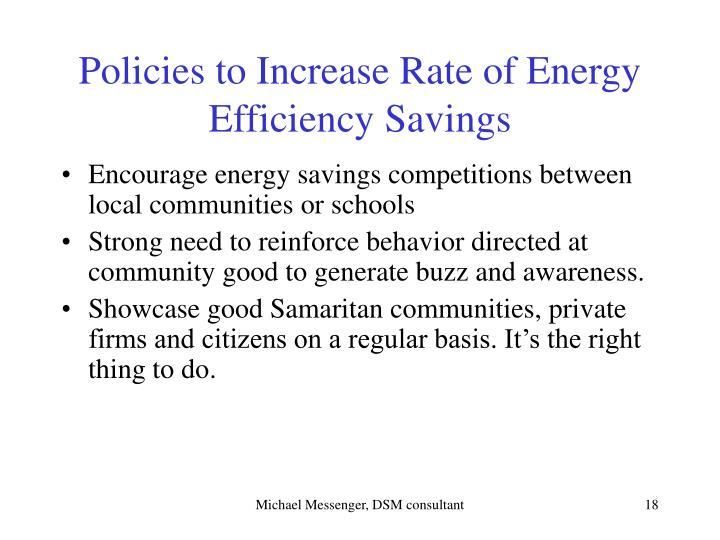 Policies to Increase Rate of Energy Efficiency Savings