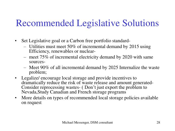 Recommended Legislative Solutions