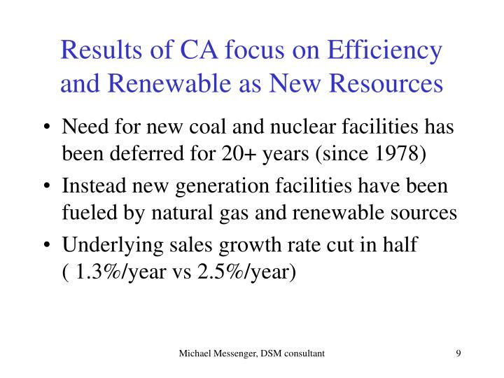 Results of CA focus on Efficiency and Renewable as New Resources