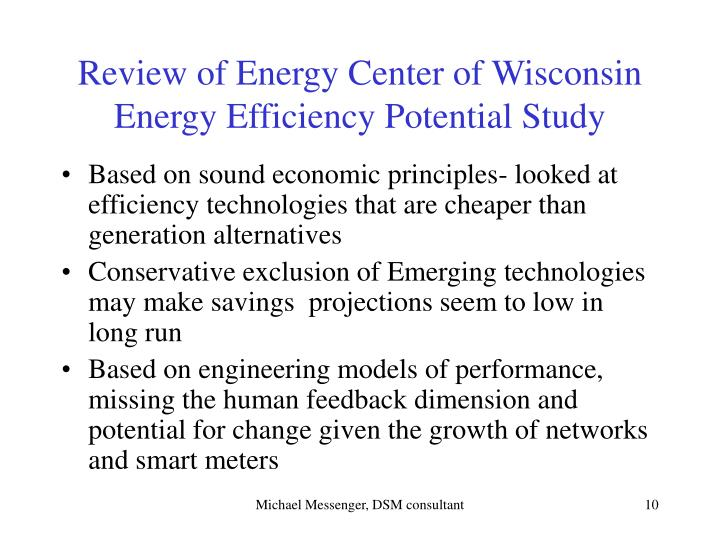 Review of Energy Center of Wisconsin
