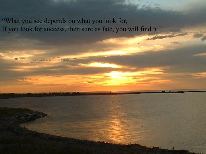 """""""What you see depends on what you look for,"""