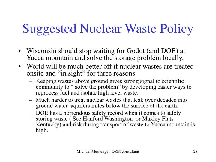 Suggested Nuclear Waste Policy
