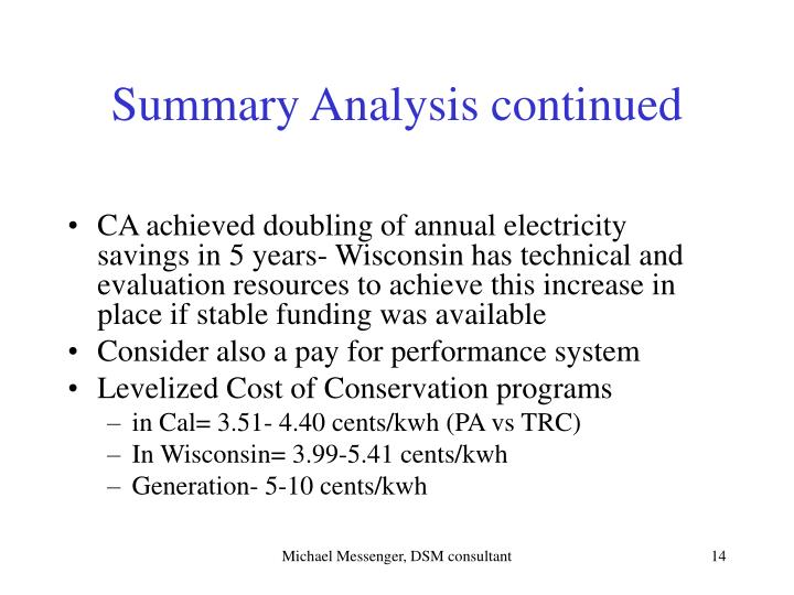 Summary Analysis continued