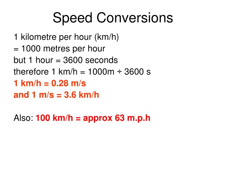 Speed Conversions