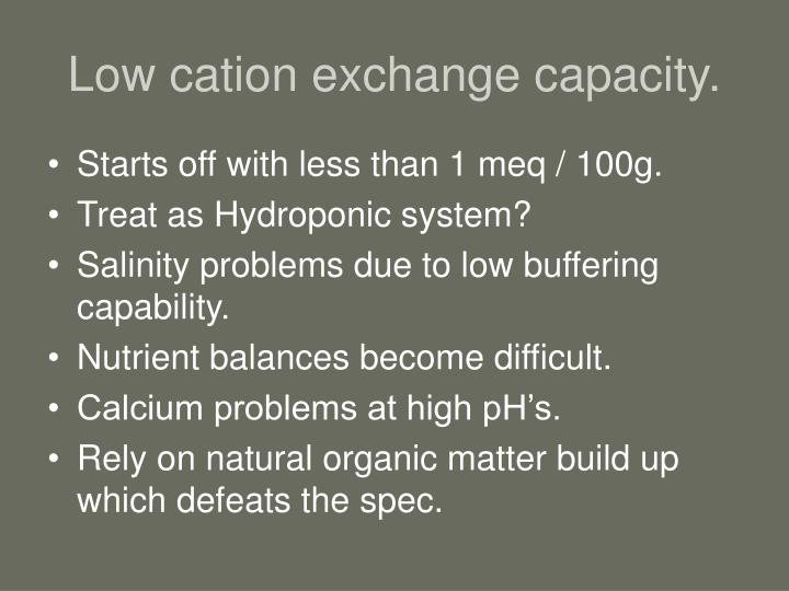 Low cation exchange capacity.
