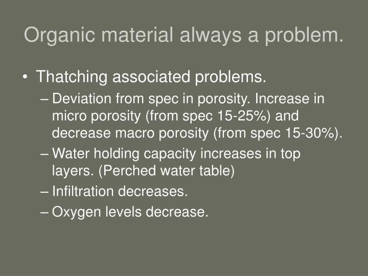 Organic material always a problem.