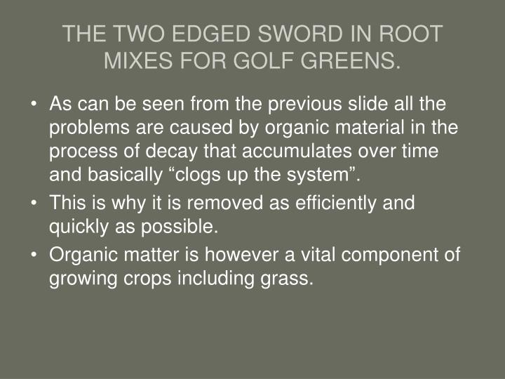THE TWO EDGED SWORD IN ROOT MIXES FOR GOLF GREENS.