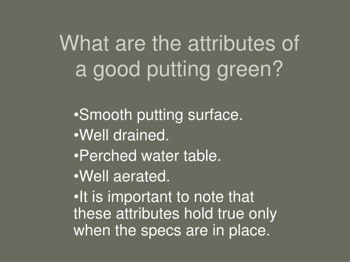 What are the attributes of a good putting green