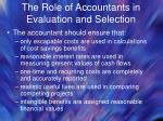 the role of accountants in evaluation and selection