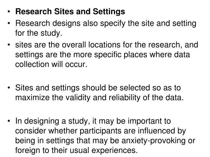 Research Sites and Settings