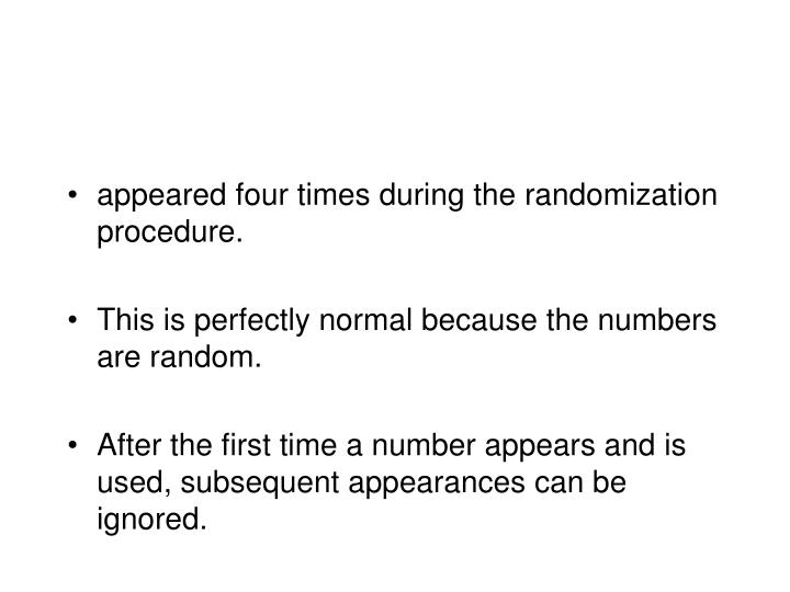 appeared four times during the randomization procedure.