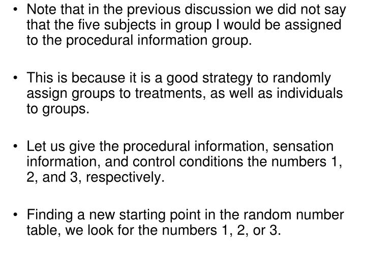 Note that in the previous discussion we did not say that the five subjects in group I would be assigned to the procedural information group.