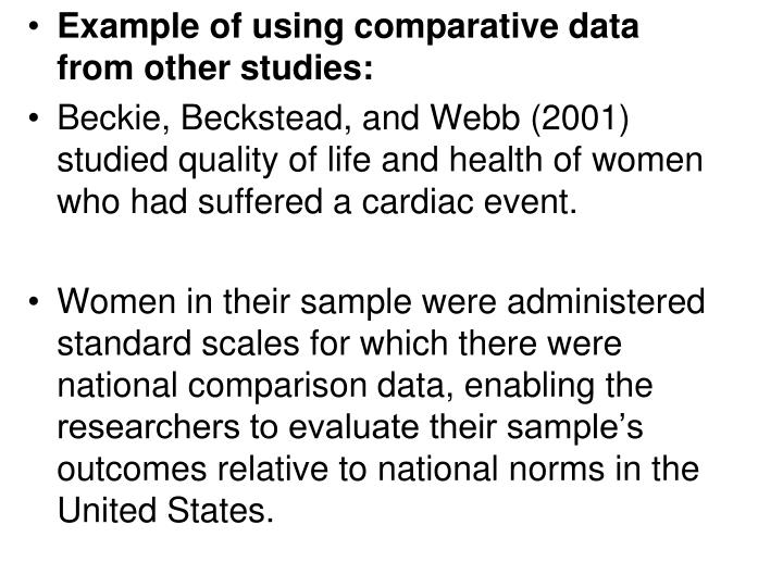 Example of using comparative data from other studies: