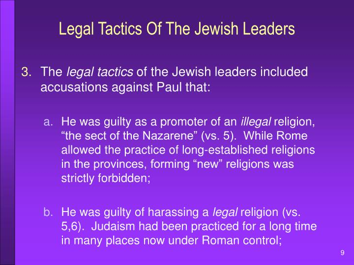 Legal Tactics Of The Jewish Leaders