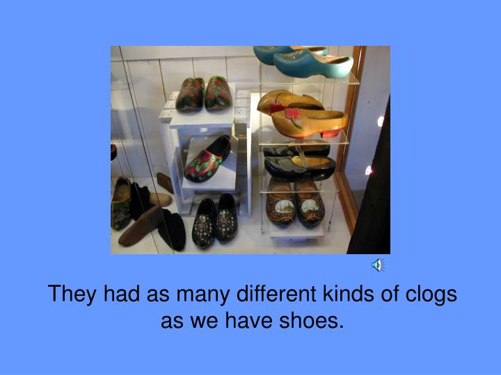 They had as many different kinds of clogs as we have shoes.