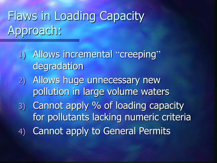 Flaws in Loading Capacity Approach: