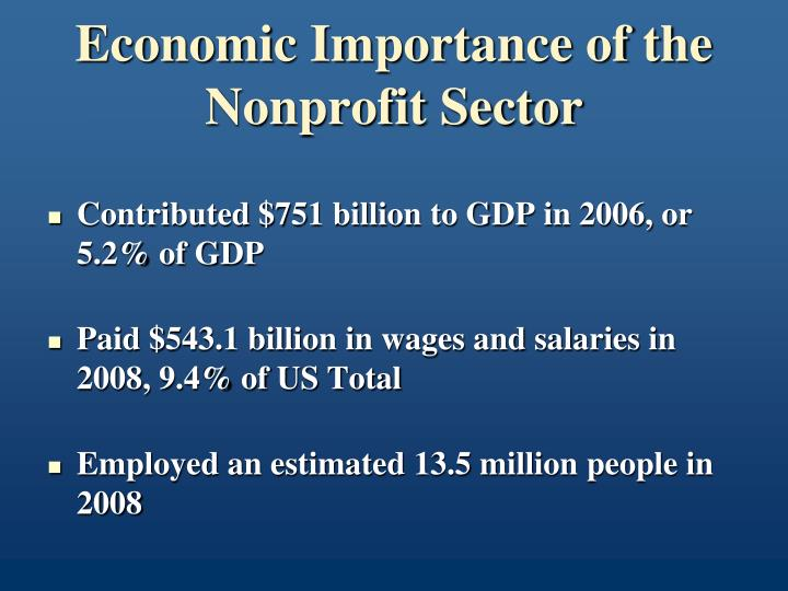 Economic Importance of the Nonprofit Sector