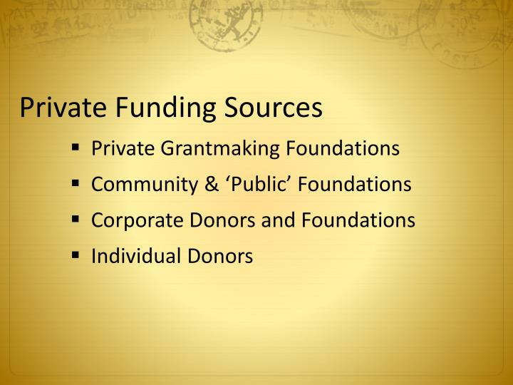 Private Funding Sources