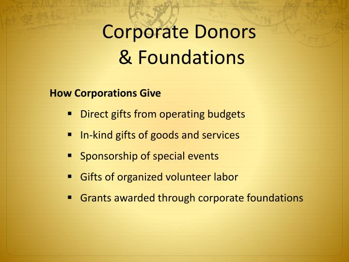 Corporate Donors