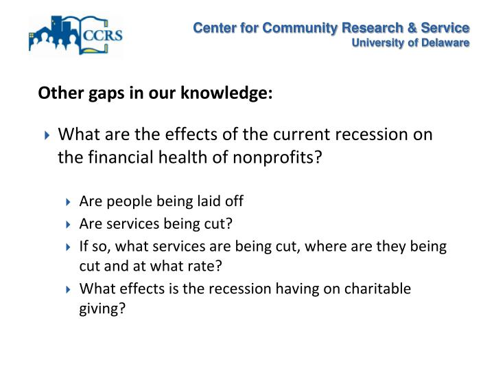 Other gaps in our knowledge: