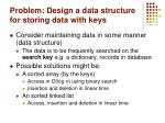 problem design a data structure for storing data with keys