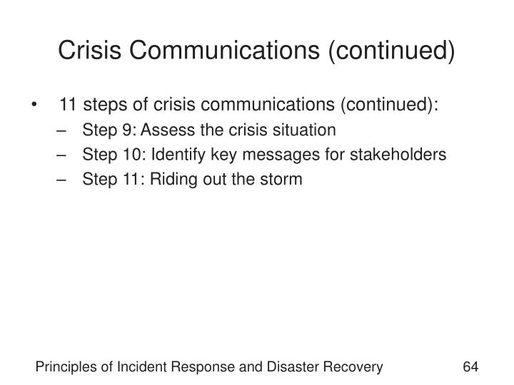 Crisis Communications (continued)