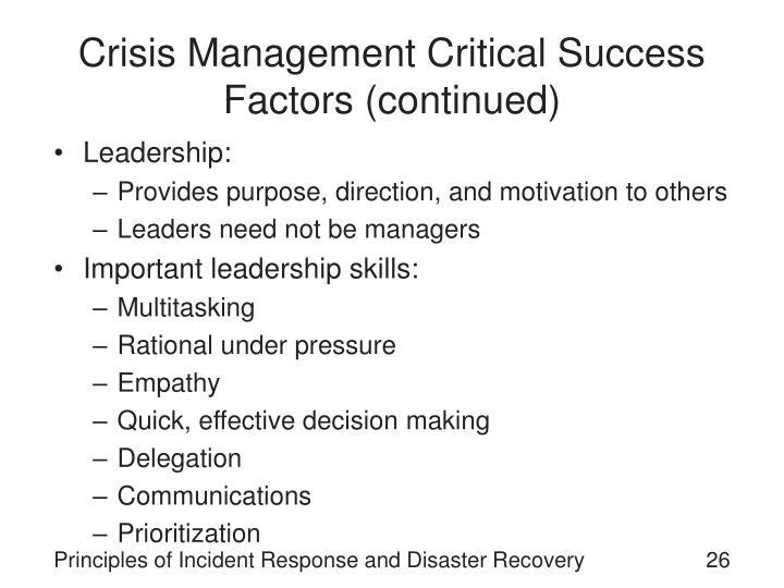 Crisis Management Critical Success Factors (continued)
