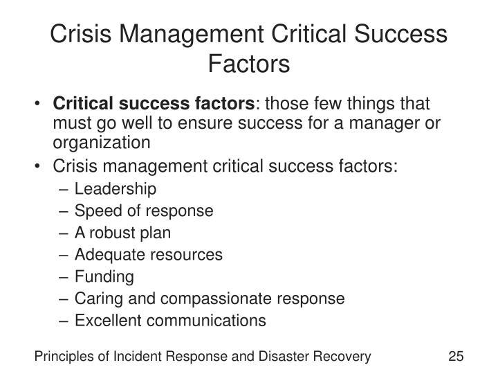 Crisis Management Critical Success Factors