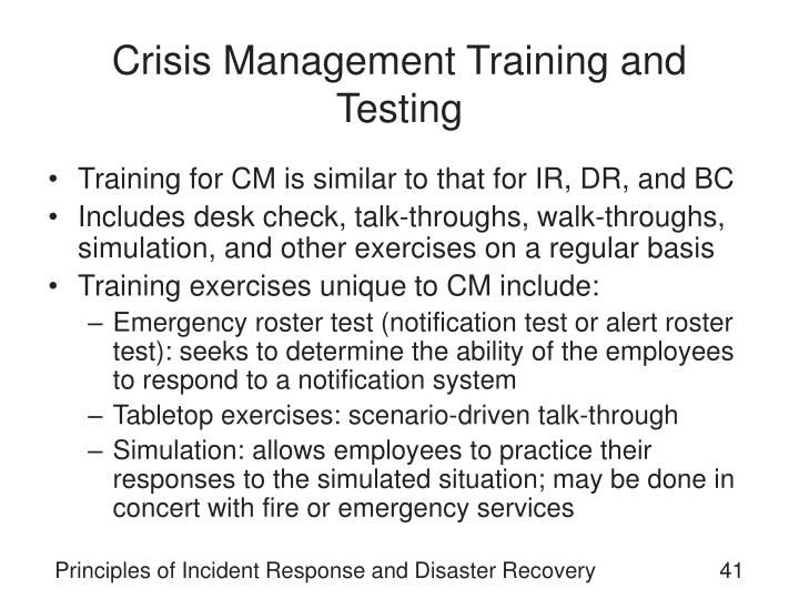 Crisis Management Training and Testing