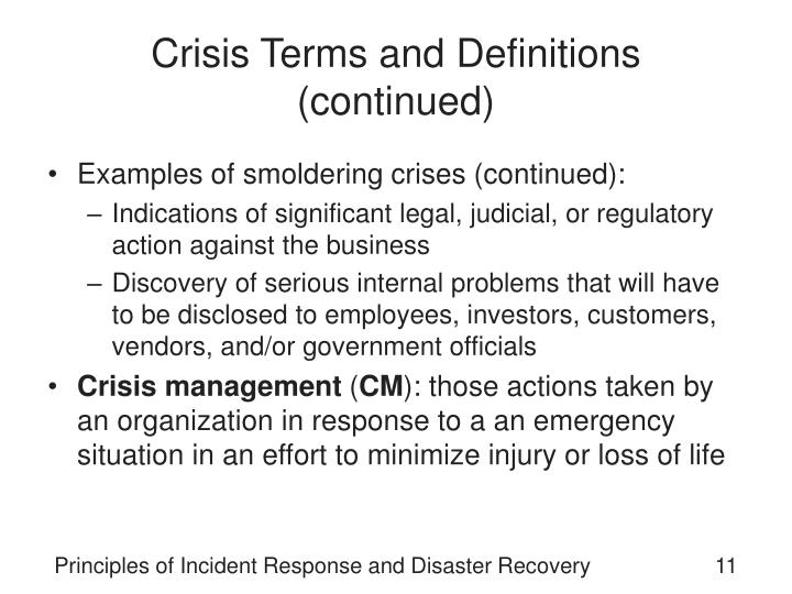 Crisis Terms and Definitions (continued)
