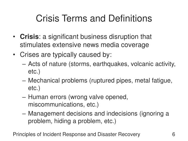Crisis Terms and Definitions