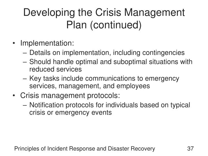 Developing the Crisis Management Plan (continued)