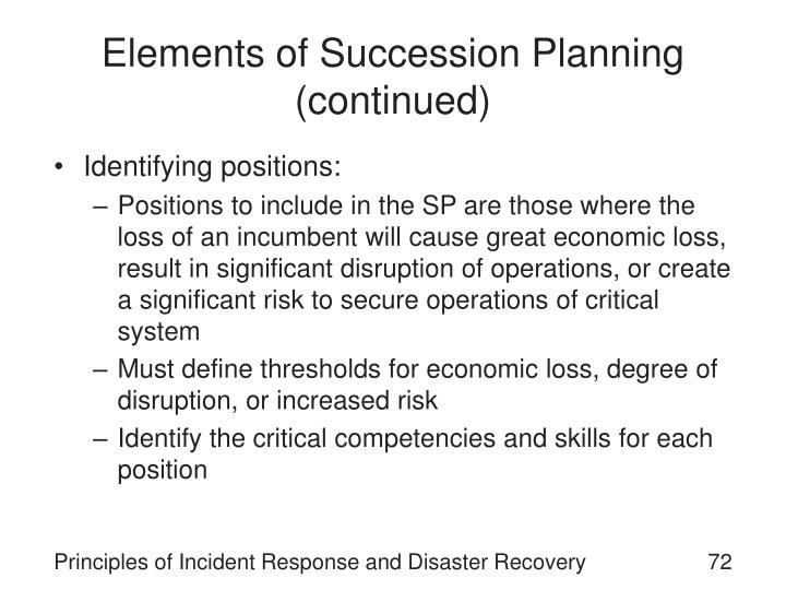 Elements of Succession Planning (continued)