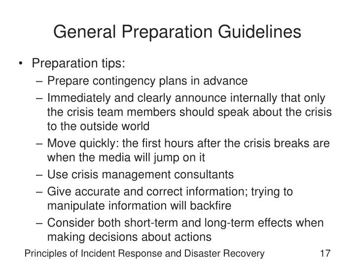 General Preparation Guidelines