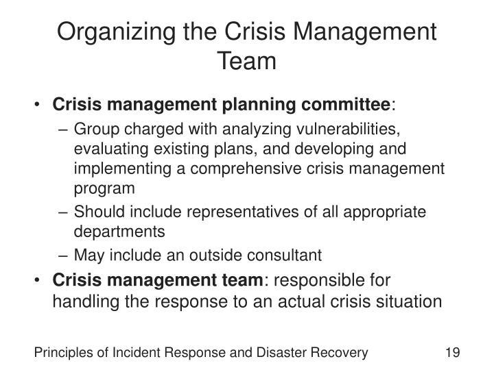 Organizing the Crisis Management Team