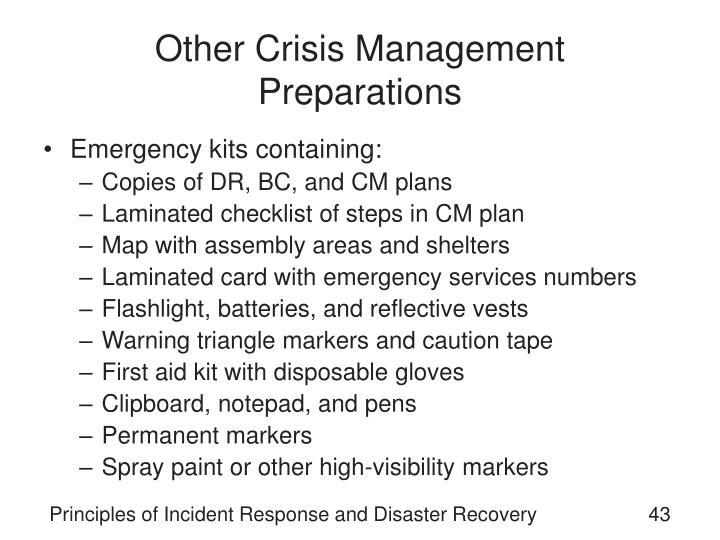 Other Crisis Management Preparations