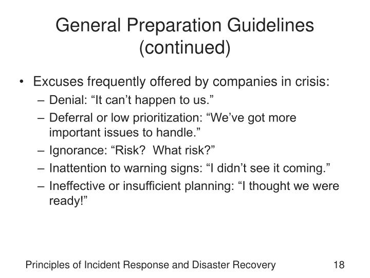 General Preparation Guidelines (continued)