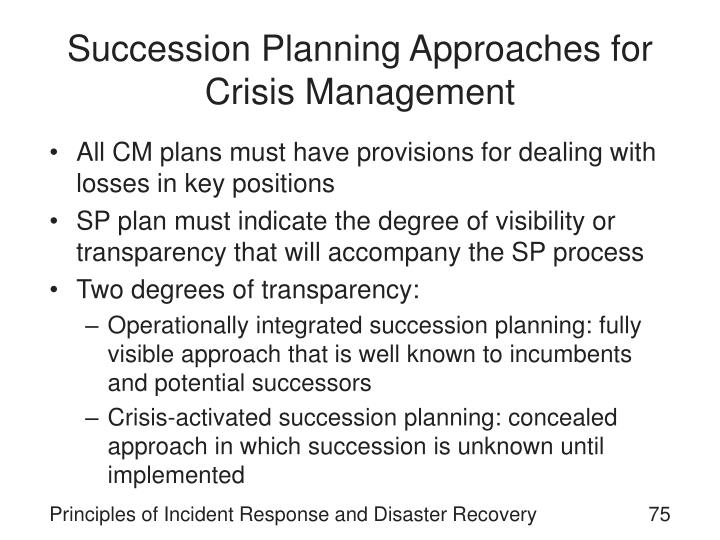 Succession Planning Approaches for Crisis Management