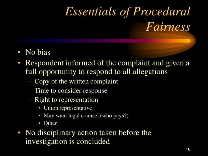 Essentials of Procedural Fairness