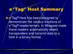 e tag host summary