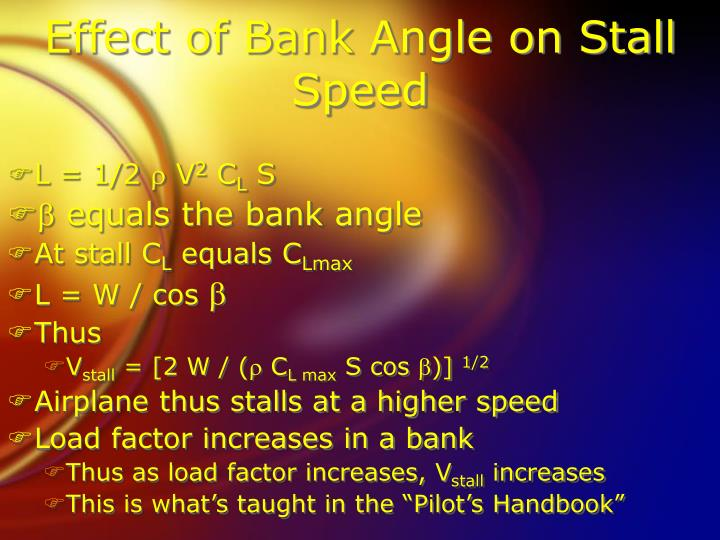 Effect of Bank Angle on Stall Speed