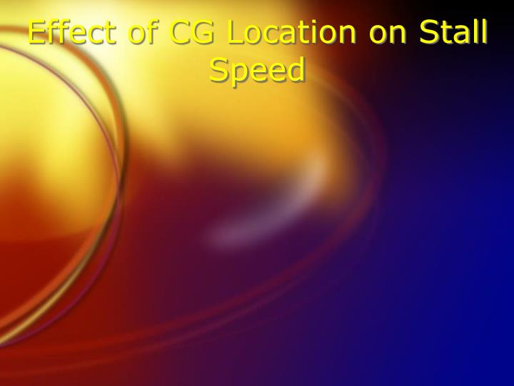 Effect of CG Location on Stall Speed