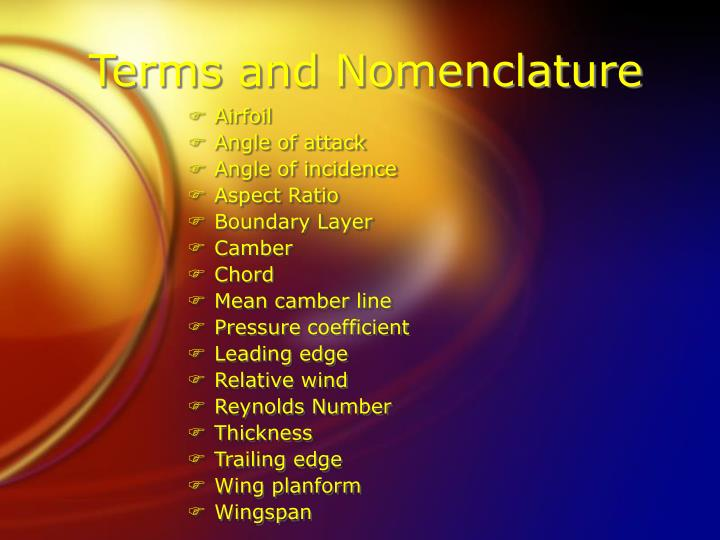 Terms and Nomenclature