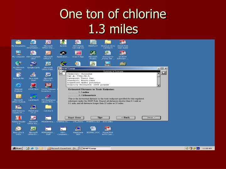 One ton of chlorine
