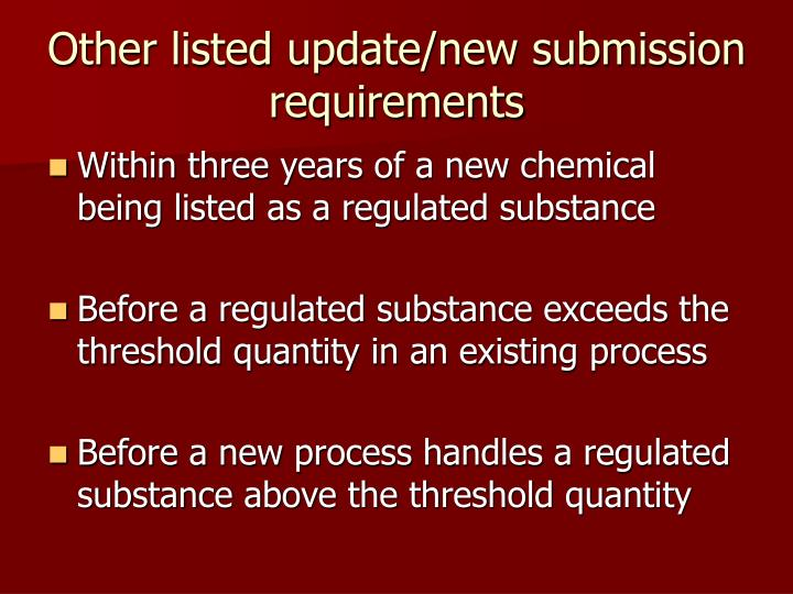 Other listed update/new submission requirements