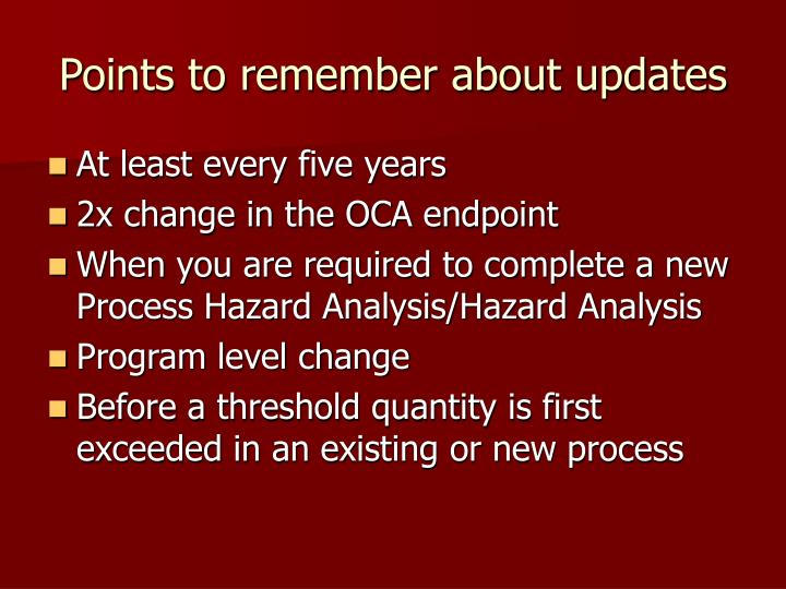 Points to remember about updates