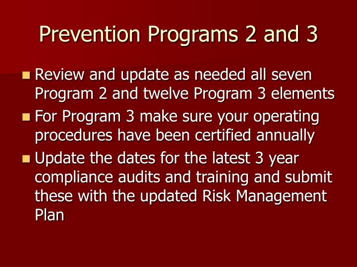 Prevention Programs 2 and 3