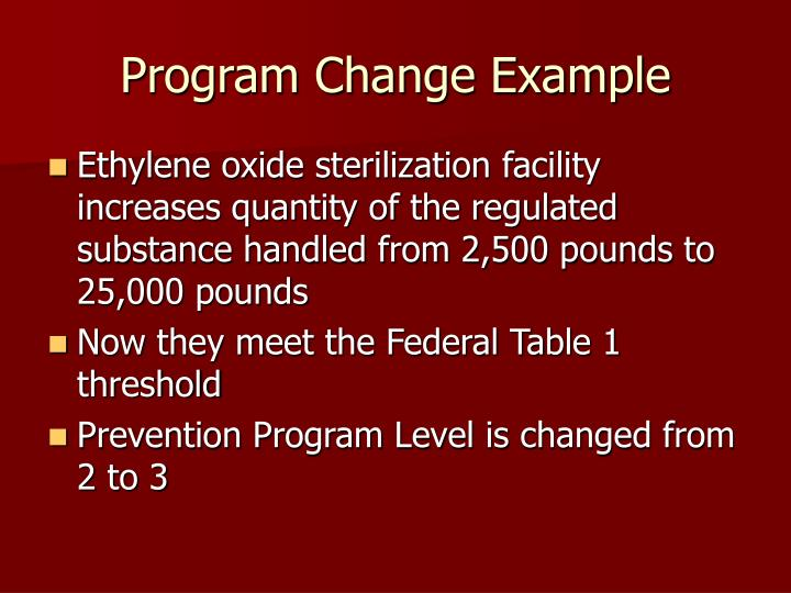 Program Change Example
