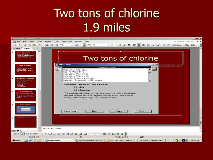 Two tons of chlorine